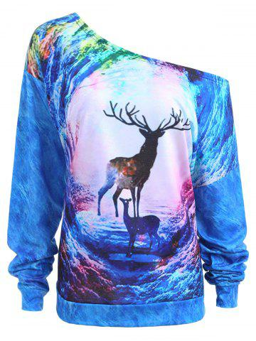 Sweat graphique de cerisier de Noël Galaxy Bleu XL