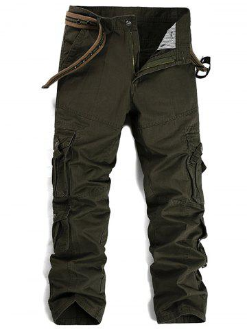 Sale Straight Leg Pleat Pockets Cargo Pants ARMY GREEN 32