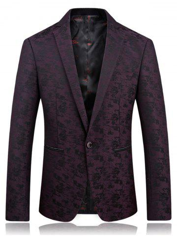 Lapel One Button Jacquard Edging Blazer Bordeaux XL