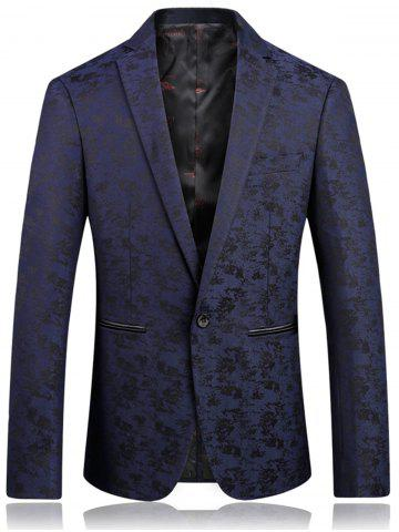 Store Lapel One Button Jacquard Edging Blazer DEEP BLUE XL