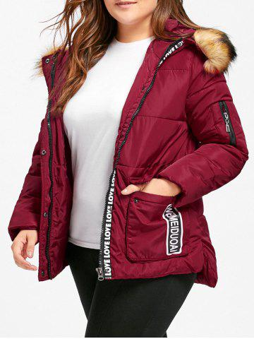 Shops Hooded Letter Print Padded Plus Size Coat WINE RED 4XL