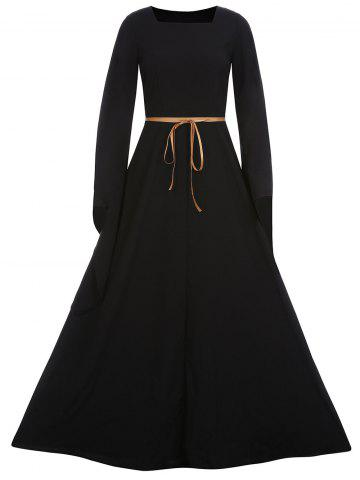 Shop Square Neck Bowknot Belt Maxi Dress - S BLACK Mobile