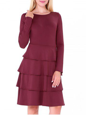 Hot Tier Flounce Long Sleeve Dress - S WINE RED Mobile
