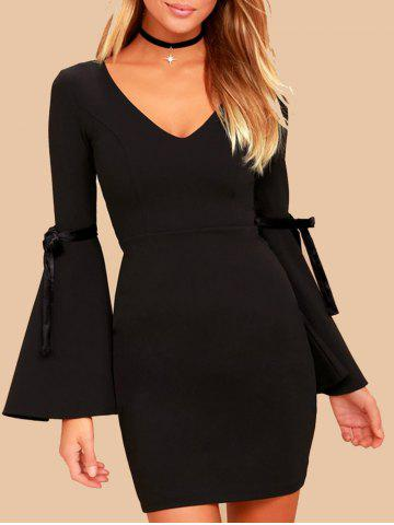 Hot Short Bell Sleeve Fitted Dress BLACK XL