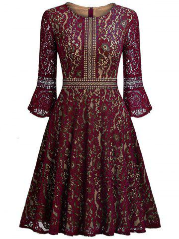 Outfit Lace Vintage A Line Dress - 2XL WINE RED Mobile