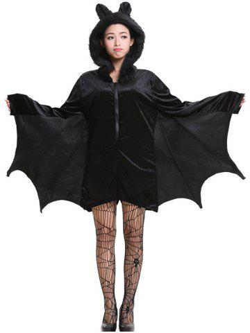 Unique Halloween Batwing Romper with Cat Ear Hat - XL BLACK Mobile
