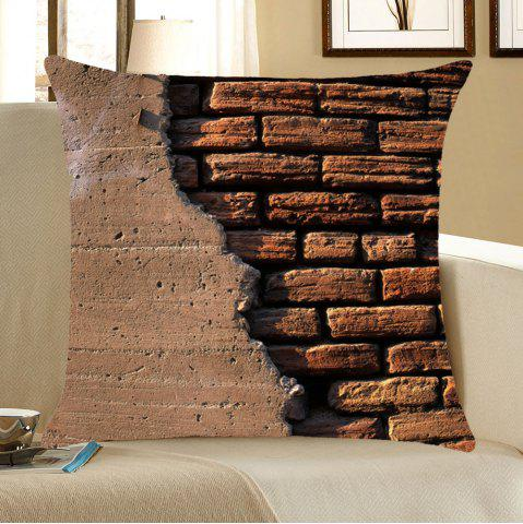 Sale Broken Brick Wall Pattern Home Decor Pillow Case - W18 INCH * L18 INCH BROWN Mobile