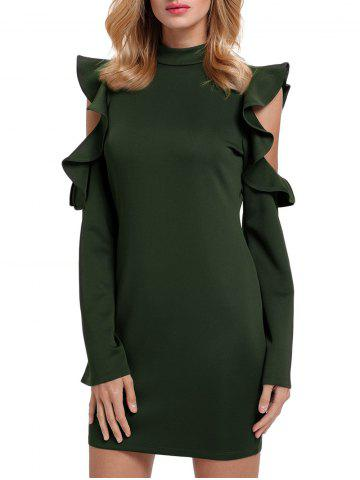 Trendy Ruffles Cut Out Mock Neck Sheath Dress - XL GREEN Mobile