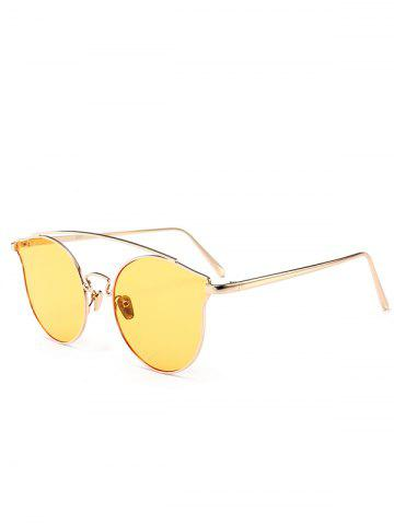 Cheap Outdoor Full Frame Butterfly Sunglasses - LIGHT YELLOW  Mobile