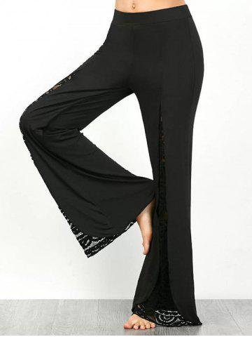 Affordable Lace Insert Wide Leg Palazzo Pants - L BLACK Mobile