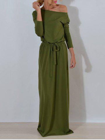 Sale Skew Collar Floor Length Dress - S ARMY GREEN Mobile