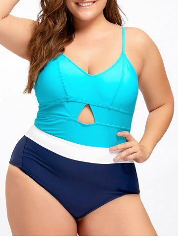 Outfit Plus Size Backless Keyhole One Piece Swimwear - 3XL LAKE BLUE Mobile