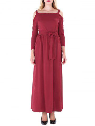 Trendy Cold Shoulder Maxi Prom Dress - XL WINE RED Mobile
