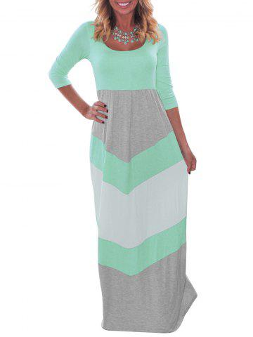 Outfits Color Block Floor Length Dress GREEN XL