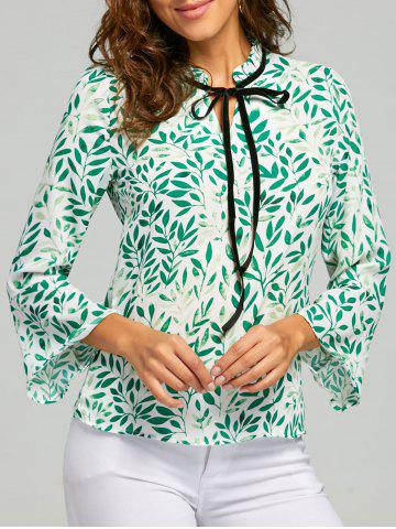 Hot Mock Neck Self Tie Leaf Print Blouse