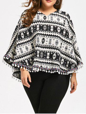 Tassels Geometry Plus Size Cape Sweater