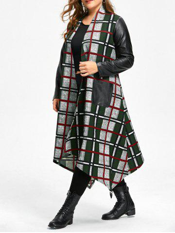 Cheap Plus Size Leather Insert Plaid Longline Asymmetrical Coat
