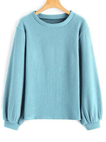 Affordable Ribbed Lantern Sleeve Casual Sweatshirt - XL LIGHT BLUE Mobile