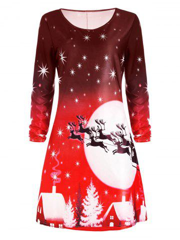 Store Christmas Deer Long Sleeve Tee Dress RED S