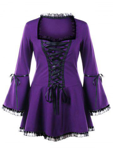 Hot Halloween Plus Size Flare Sleeve Lace Up Top