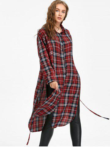 Button Down Long Blouse Checked Dress with Tie