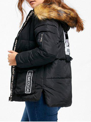 Best Hooded Letter Print Padded Plus Size Coat