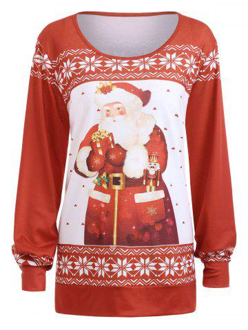 Shop Plus Size Classic Christmas Santa Claus Print Sweatshirt