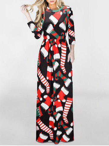 Discount Christmas Stockings Print Maxi Dress