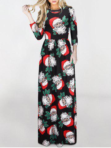 Fancy Christmas Santa Claus Print Maxi Dress