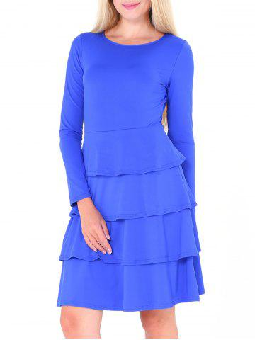 Chic Tier Flounce Long Sleeve Dress