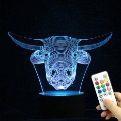Remote Control Changeable 3D Cow Head Shape Night Light -