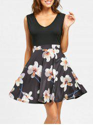 Sleeveless Floral Print V Neck Mini Dress -