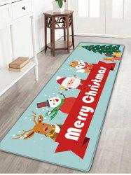 Christmas Elk Snowman Santa Claus Fox Tree Nonslip Bath Mat - Cloudy - W16 Inch * L47 Inch