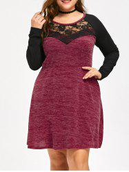 Long Sleeve Plus Size Lace Trim Dress -