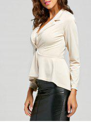 One Button Flounce High Low Blazer - Abricot L