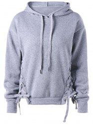Lace Up Drawstring Neck Hoodie -