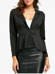 One Button Flounce High Low Blazer - BLACK XL