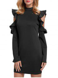 Ruffles Cut Out Robe en gomme - Noir XL