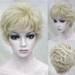 Short Side Bang Fluffy Layered Slightly Curly Human Hair Wig -