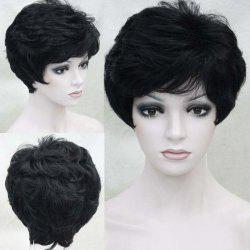 Short Side Bang Layered Fluffy Slightly Curled Human Hair Wig -