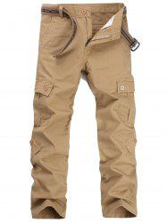 Zipper Fly Pockets Straight Leg Cargo Pants - Kaki 34