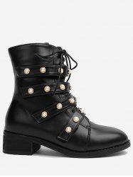Round Toe Faux Pearl Ankle Boots - BLACK 35