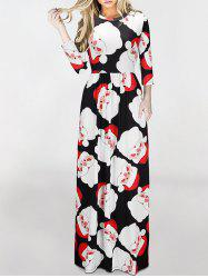 Santa Claus Pattern Maxi Dress - COLORMIX S
