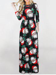 Christmas Santa Claus Print Maxi Dress - COLORMIX L