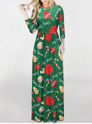 Round Neck Christmas Crutches Print Maxi Dress - COLORMIX M