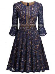 Lace Vintage A Line Dress - Pearl Indigo Blue - L