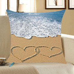 Sea Wave Love Beach Pattern Pillow Case -