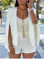 Collarless Split Cape Blazer - Blanc XL