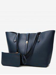 Rivets 2 Pieces Faux Leather Shoulder Bag Set -