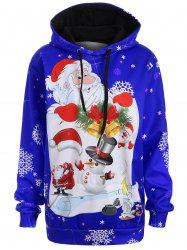 Christmas Plus Size Snowman Kangaroo Pocket Hoodie - Blue - 4xl